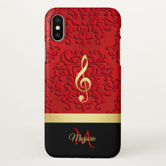 Red Black Damask Music Clef Monogram iPhone X Case