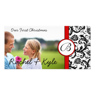 Red & Black Damask Our First Christmas Your Photo Picture Card
