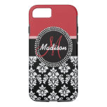 Red Black Damask Pattern, Your Name Monogram iPhone 7 Case