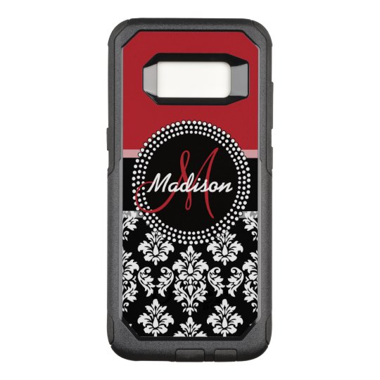 Red Black Damask Pattern, Your Name Monogram OtterBox Commuter Samsung Galaxy S8 Case