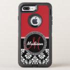 Red Black Damask Pattern, Your Name Monogram OtterBox Defender iPhone 8 Plus/7 Plus Case