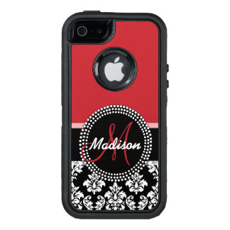 Red Black Damask Pattern, Your Name Monogram OtterBox Defender iPhone Case