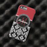 Red Black Damask Pattern, Your Name Monogram Tough iPhone 6 Case