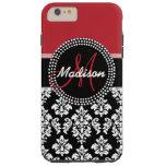 Red Black Damask Pattern, Your Name Monogram Tough iPhone 6 Plus Case