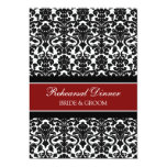 """Red Black Damask Rehearsal Dinner Party 5"""" X 7"""" Invitation Card"""