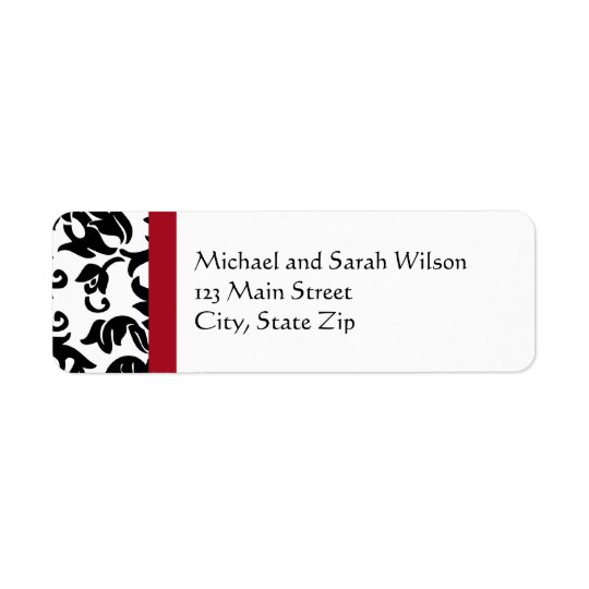 Red & Black Damask Return Address Labels