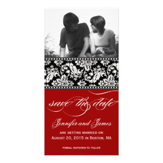 Red Black Damask Save the Date Photo Card