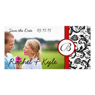 Red & Black Damask Save the Date Your Photo Personalized Photo Card