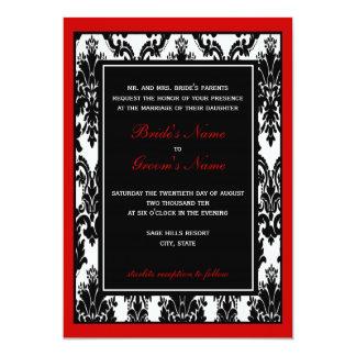 "Red & Black Damask Wedding 5"" X 7"" Invitation Card"