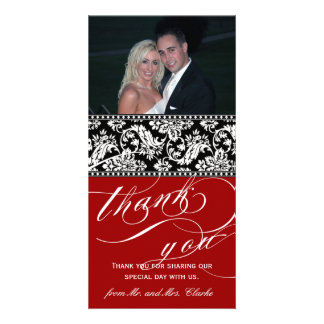 Red Black Damask Wedding Thank You Photo Card