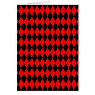 Red & Black Diamond Argyle Checkers Card