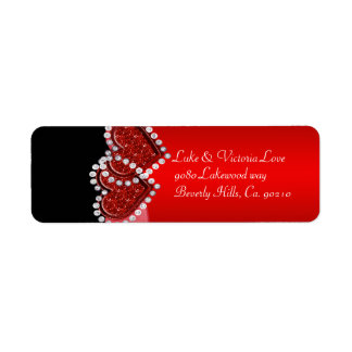 Red & Black Diamond Locking Hearts Wedding Return Address Label