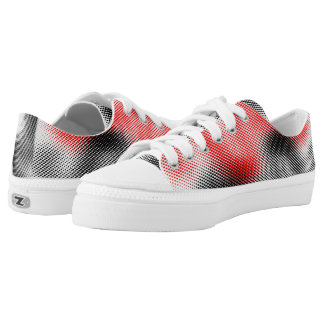 Red, Black  Dot Pattern on White Low-Top Sneakers