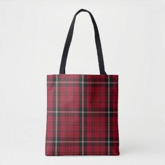 Red Black Ecru Tartan Plaid Tote Bag