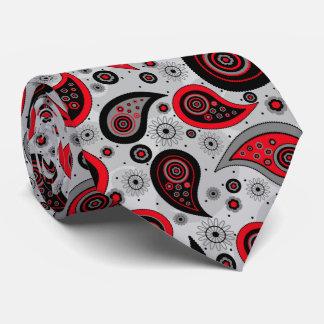 Red black elegant vintage paisley pattern tie