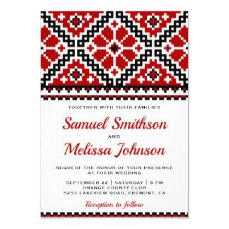 Red Black Embroidery Ukrainian Wedding Invitation