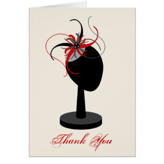 Red & Black Fascinator & Hat Stand Thank You Card
