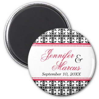 Red black filigree fancy wedding save the date 2 inch round magnet