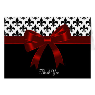 Red Black Fleur De Lis Thank You Cards