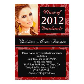 """Red Black Floral Swirl 2012 Graduate Invite 5"""" X 7"""" Invitation Card"""
