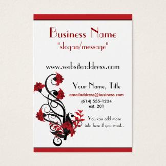 Red & Black Floral Vine Design 2 Business Cards