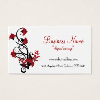 Red & Black Floral Vine Design Business Cards
