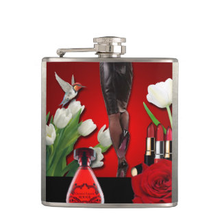 Red & Black Girly Fashion Hip Flask