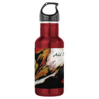 Red Black Gold Abstract Personalized Water Bottle