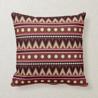 Red Black Gold Aztec Modern Stylish Throw Pillow