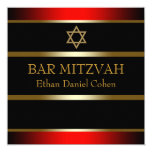 "Red Black Gold Bar Mitzvah 5.25"" Square Invitation Card"