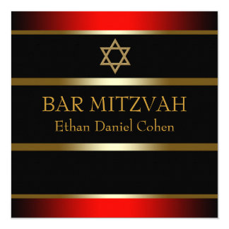 Red Black Gold Bar Mitzvah Card