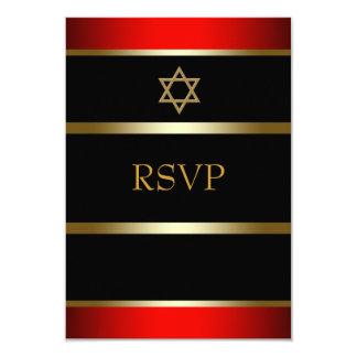 Red Black Gold Bar Mitzvah RSVP Card