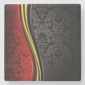 RED, BLACK & GOLD BAROQUE DESIGN MARBLE COASTER STONE BEVERAGE COASTER