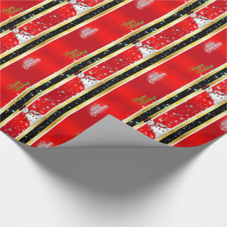 Red, Black & Gold Stripes Christmas Wrapping Wrapping Paper