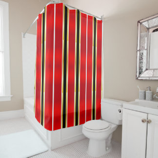 Red, Black & Gold Stripes Shower Curtain
