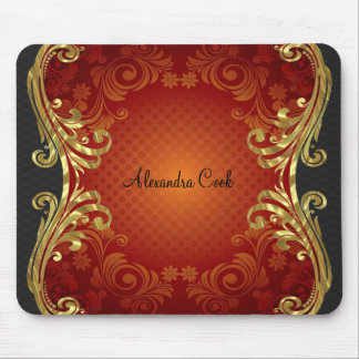 Red Black & Gold Tones Vintage Swirls-Monogram Mouse Pad