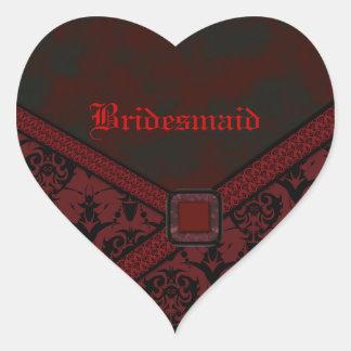 Red & Black Goth Lace Wedding Heart Sticker