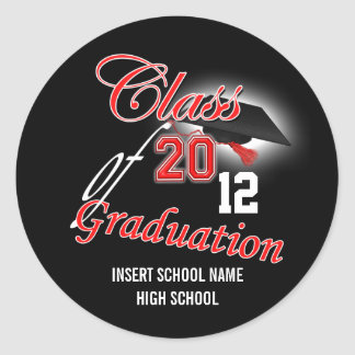 "Red black graduation ""class of"" announcement round sticker"
