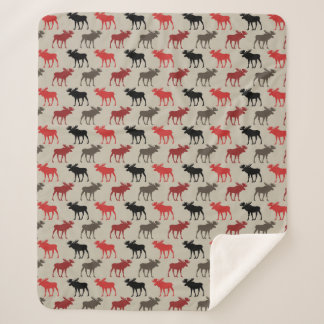 Red Black Gray Moose Pattern Sherpa Blanket