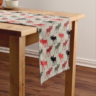 Red Black Gray Moose Pattern Short Table Runner