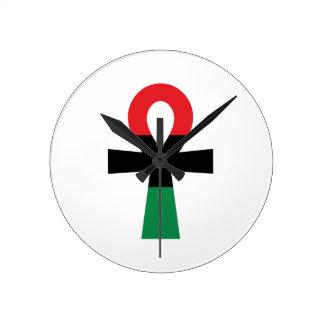 Red, Black & Green Ankh Round Clock
