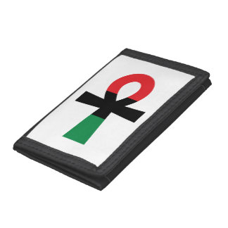Red, Black & Green Ankh Trifold Wallets