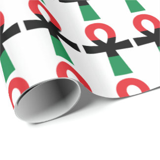 Red, Black & Green Ankh Wrapping Paper