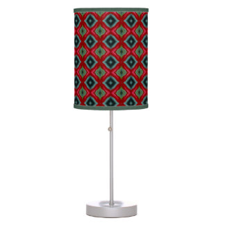 Red, Black & Green Diamonds Table Lamp