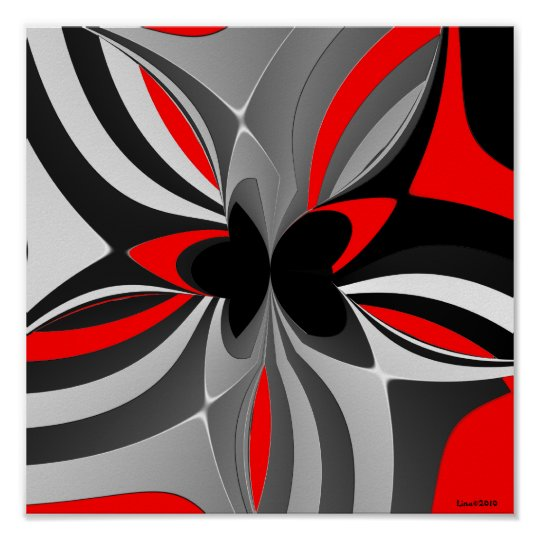 Red Black Grey Abstract Poster