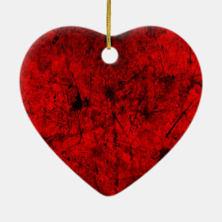 Red Black grunge abstract digital graphic art Ceramic Heart Ornament