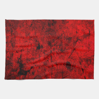 Red Black grunge abstract digital graphic art Kitchen Towels