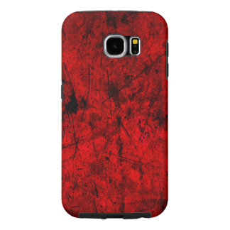 Red Black grunge abstract digital graphic art Samsung Galaxy S6 Cases