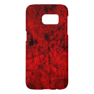 Red Black grunge abstract digital graphic art Samsung Galaxy S7 Case