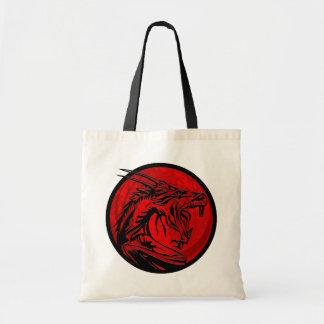 Red black grunge dragon circle tote bag